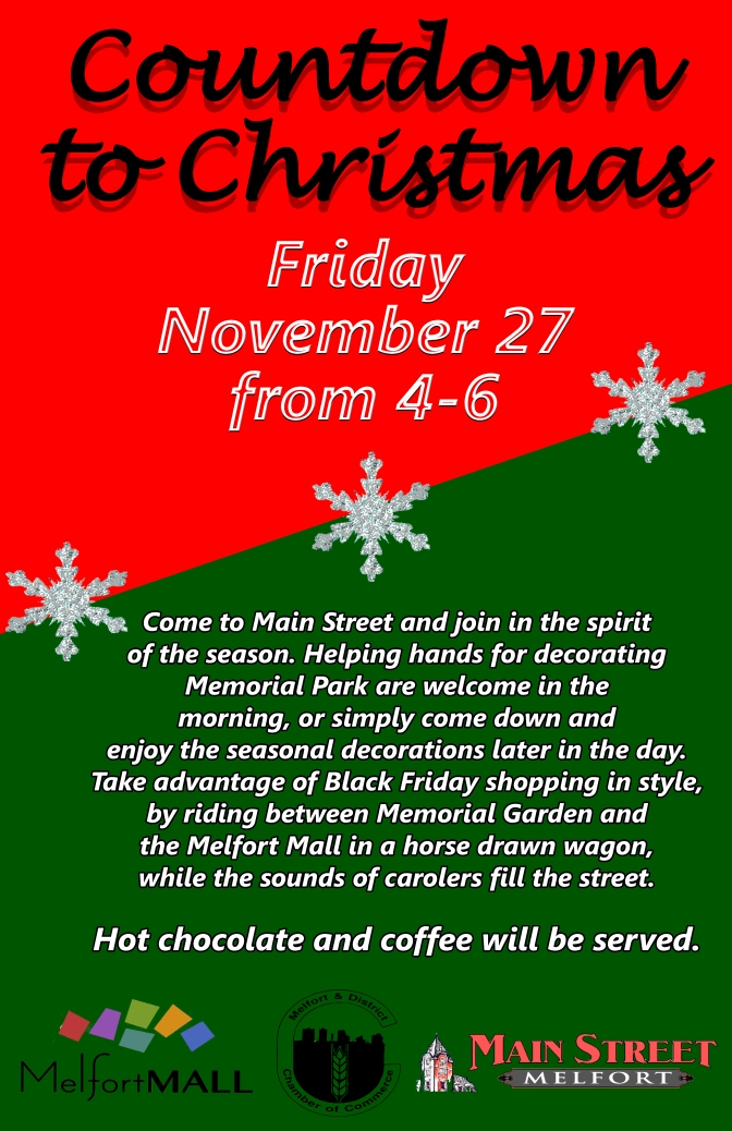 Countdown to Christmas: November 27 from 4-6 PM